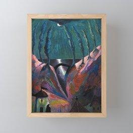 A Night Fantastique, Moonlight Ocean - Tuscany landscape painting by Marianne von Werefkin Framed Mini Art Print