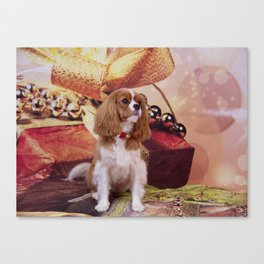 Ribbons, Bells And Cavalier King Charles Spaniel Canvas Print