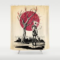 japanese Shower Curtains featuring Japanese student by Rafapasta