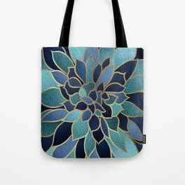 Festive, Floral Prints, Navy Blue, Teal and Gold Tote Bag