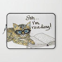 Kitten reading...shh Laptop Sleeve