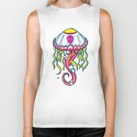 jelly fish Biker Tanks featuring Jelly Fish by KillianPB
