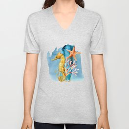 Watercolor Under Sea Collection: Seahorse Unisex V-Neck