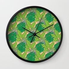 Tropical Botanical Leaves Wall Clock