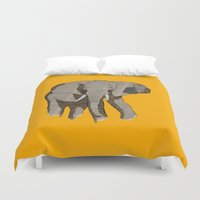 newspaper Duvet Covers featuring Newspaper Elephant by Doolin