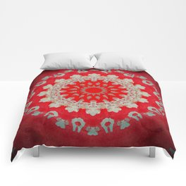 Bright Red Mandala Comforters