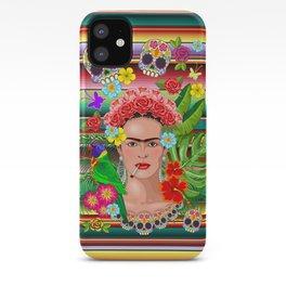 Frida Kahlo Floral Exotic Portrait iPhone Case