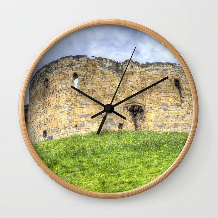 York Castle And Daffodils Wall Clock