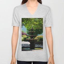 Garden Fountain  Unisex V-Neck
