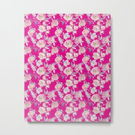 Hot magenta pink watercolor floral painted blush roses pattern Metal Print