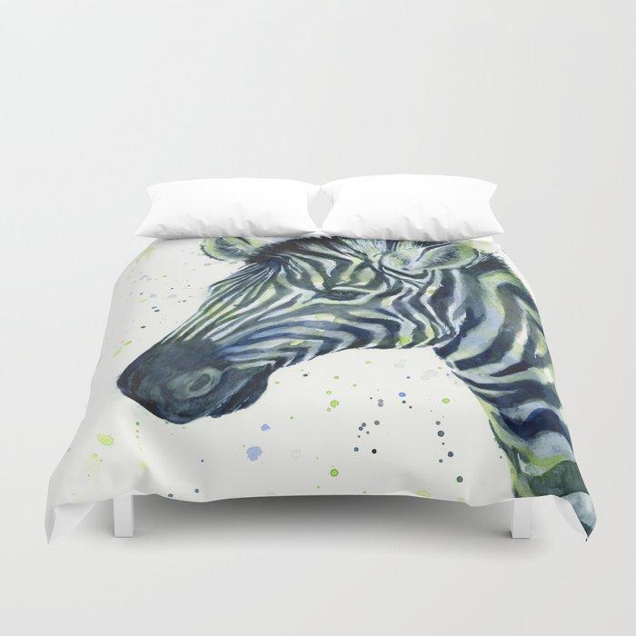 Zebra Watercolor Blue Green Animal Duvet Cover
