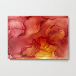 Red Sunset Abstract Ink Painting Red Orange Yellow Flame Metal Print