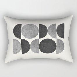 Black grey retro Mid century modern Rectangular Pillow