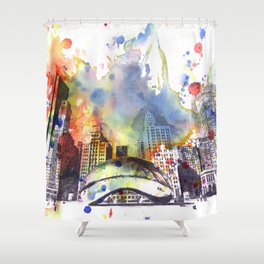 Chicago Bean Cityscape Watercolor Painting Shower Curtain