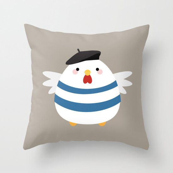 French Hen Throw Pillow