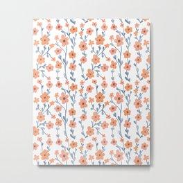 Orange Blue Foral Pattern Metal Print