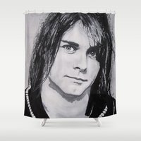 kurt rahn Shower Curtains featuring Cobain Kurt Portrait. by Dioptri Art