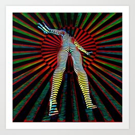 9960s-JPC Feminine Power Up Pop Art Abstract Striped Nude Figure Art Print