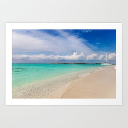 Catamaran on deserted white sand beach Art Print