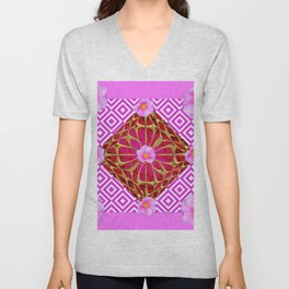 Fuchsia Pink Wild Rose Pattern Abstract Unisex V-Neck