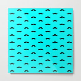 Black Mustache pattern on aqua blue background Metal Print