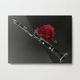 Black White Clarinet Red Rose Musical Instrument Wall Art A506 Metal Print