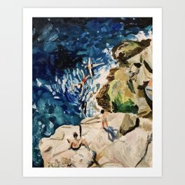 Italian Cliff Jumping Art Print