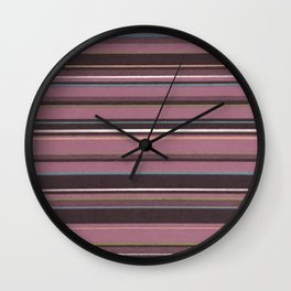 Pink and Brown Striped Pattern Wall Clock