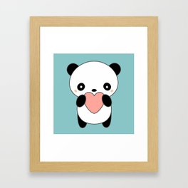 Kawaii Cute Panda Heart Framed Art Print