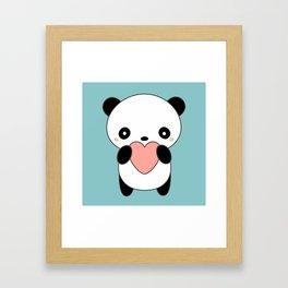 Kawaii Cute Panda Heart Framed Art Print