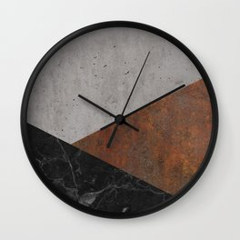 Concrete, Rusted Iron, Marble Abstract Wall Clock