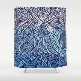 Polynesian Tribal Tattoo Shades Of Blue Floral Design Shower Curtain