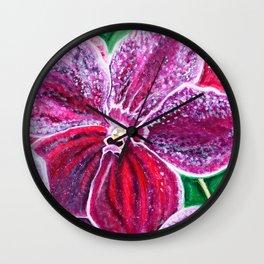 Purple Orchid Bloom Wall Clock