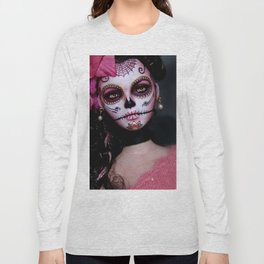 Mexican Hibiscus Day of the Dead Skull Long Sleeve T-shirt