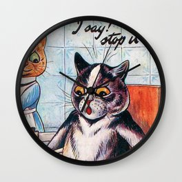 'Oh my geez, Louise' - Giving a Cat a Pedicure Humorous Cat Print by Lous Wain Wall Clock