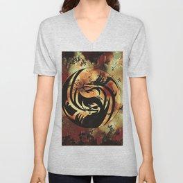 Yin and Yang Dragons Artwork Unisex V-Neck