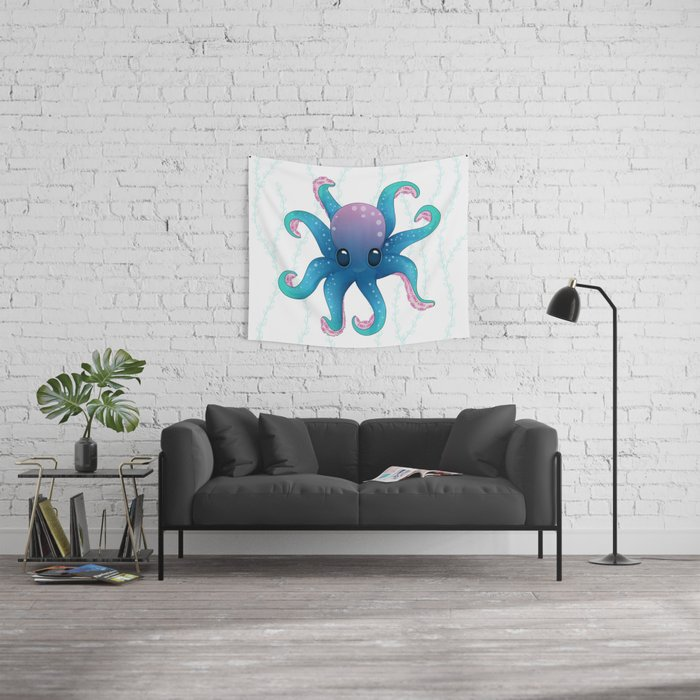Octopus friend Wall Tapestry