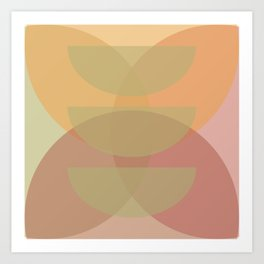 Midcentury Abstract Flower Petals and Bowls Art Print