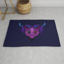 Purple Space Cat (Antlers) Rug