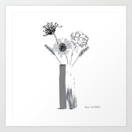 Black and White Floral Bouquet Art Print
