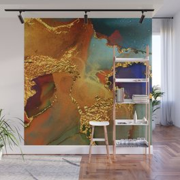 Abstract Gold and Blue Hues Glitter Paint Texture Wall Mural