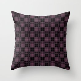 Black plaid, plaid, grey plaid, pink and black Throw Pillow