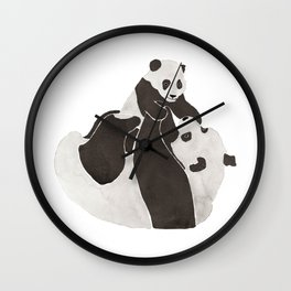 Mother and baby panda playing Wall Clock