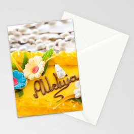 yellow decorative Easter cake Stationery Cards