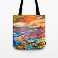 My Village | Colorful Small Mountainy Village Tote Bag
