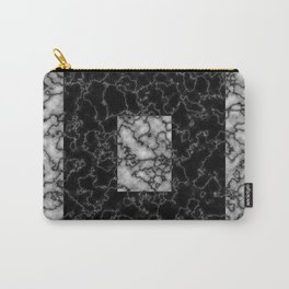 Black and white marble texture 4 Carry-All Pouch