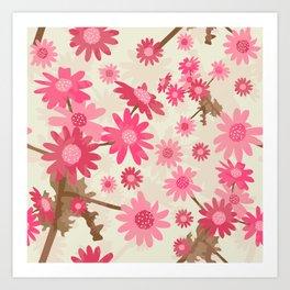 Pink Camomiles Pattern Art Print