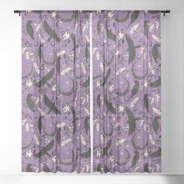 Raven Tarot Purple  Sheer Curtain