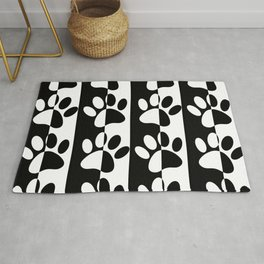 Black And White Dog Paws And Stripes Rug