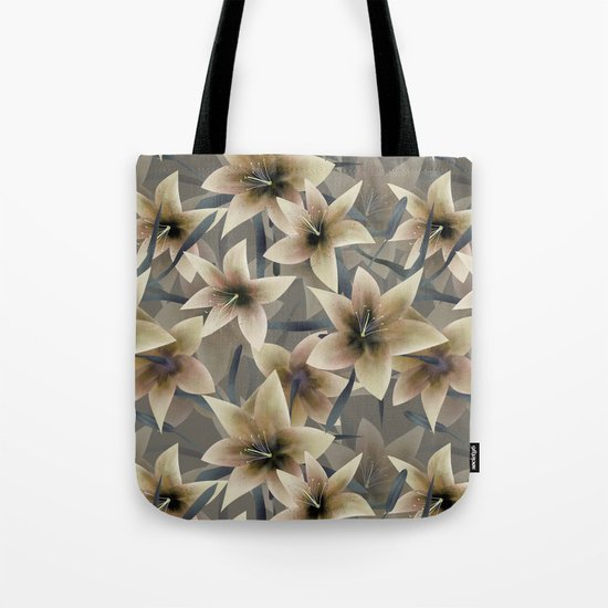 Lily. Grey beige floral pattern . Tote Bag